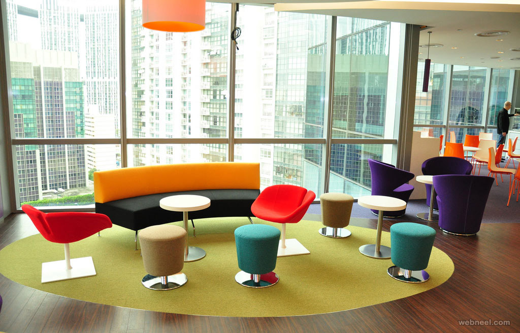 modern office design colorful reception