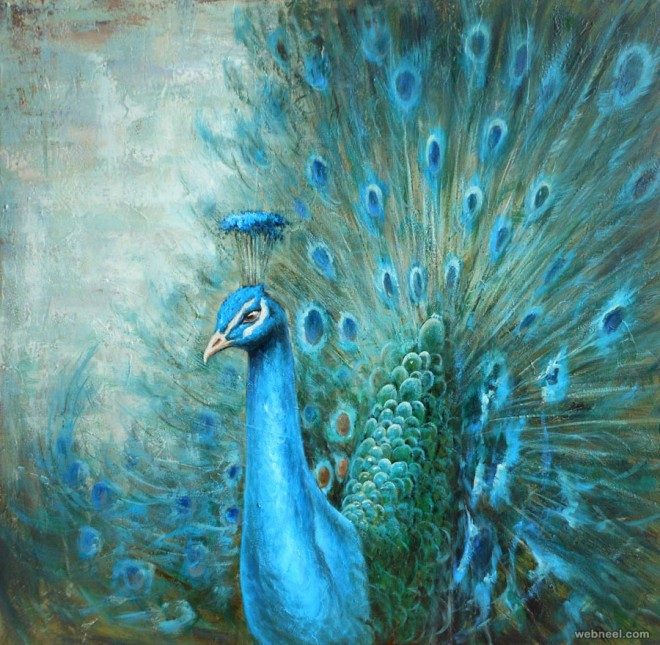 bird painting by peacock ledmood