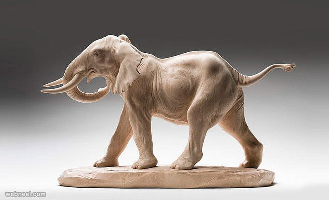 elephant animal wooden sculpture