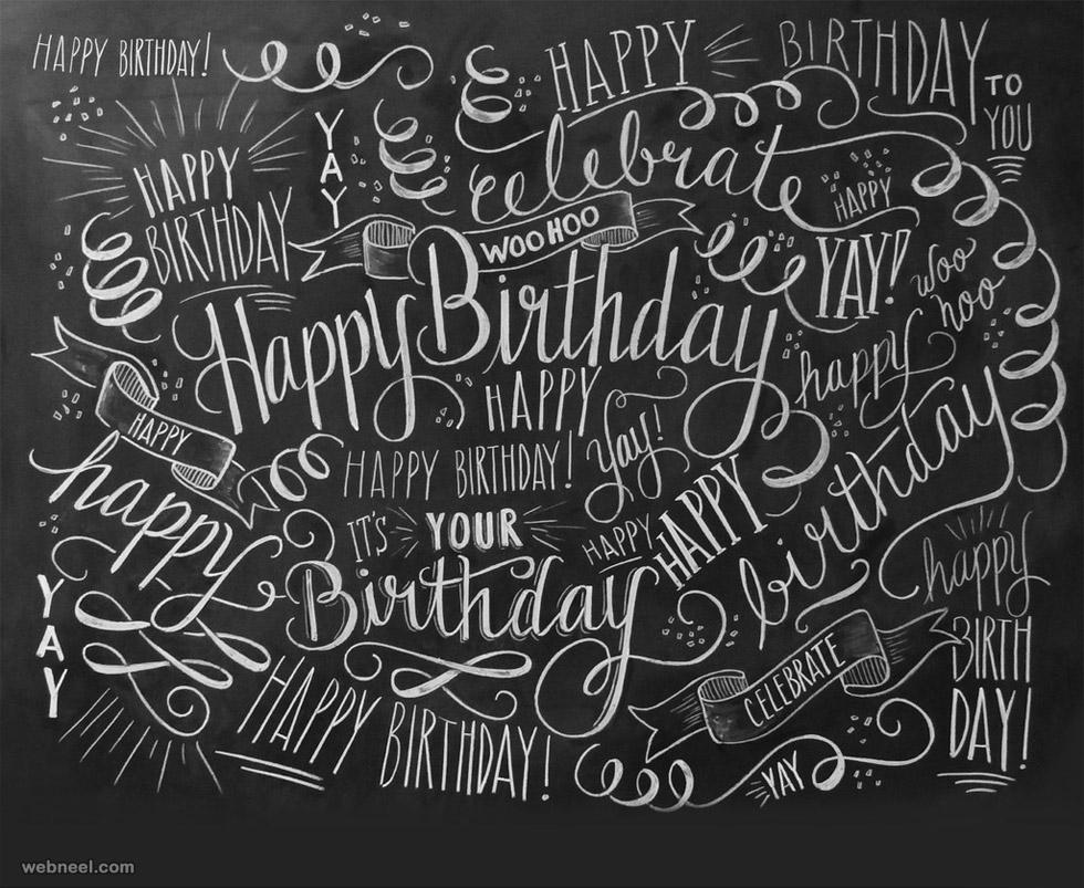 happy birthday chalk board doodle