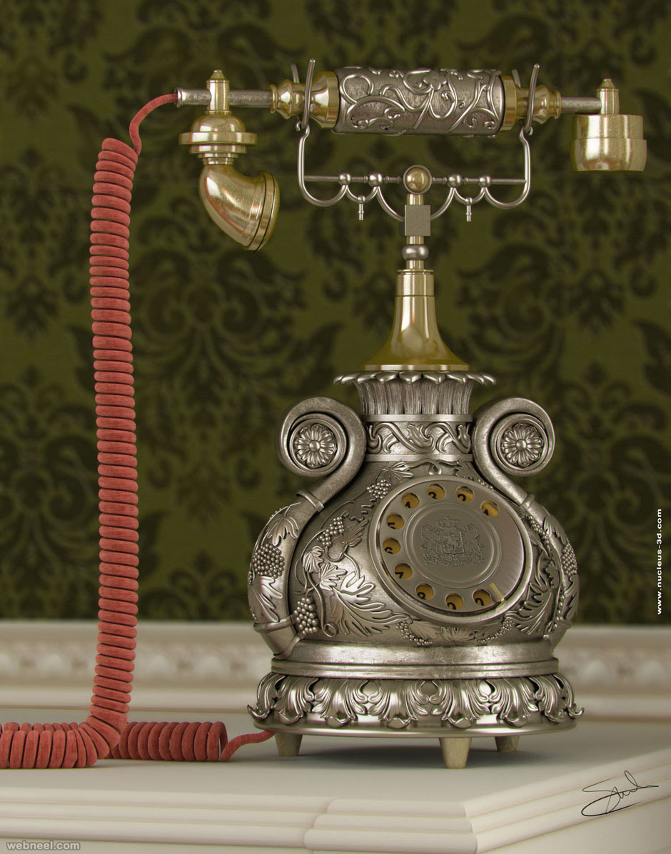 3d render classic phone by salvo brullo