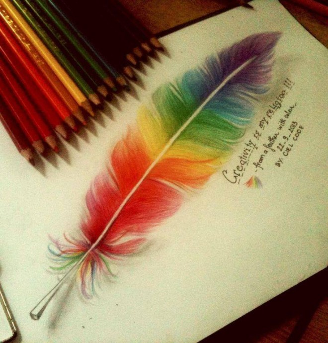 feather color pencil drawing