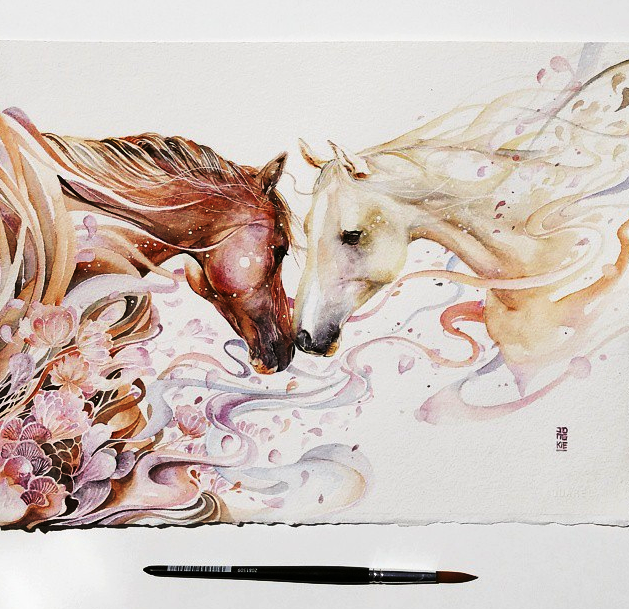 horse watercolor painting by luqman reza mulyono jongkie