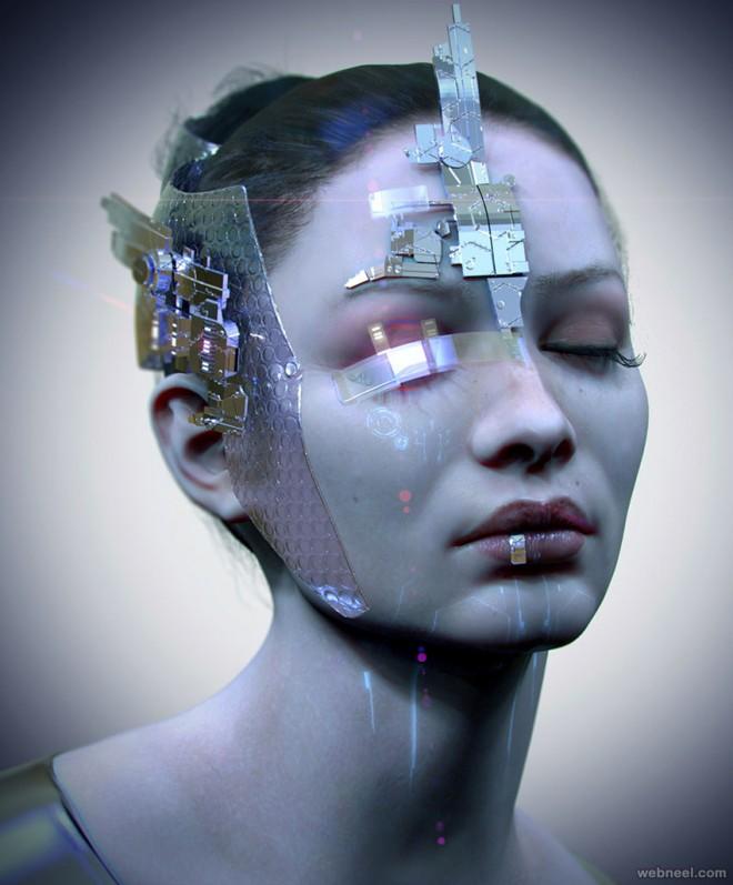 futuristic 3d model design by piotr rusnarczyk