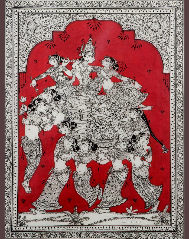 krishna tussar painting by sonia patwardhan