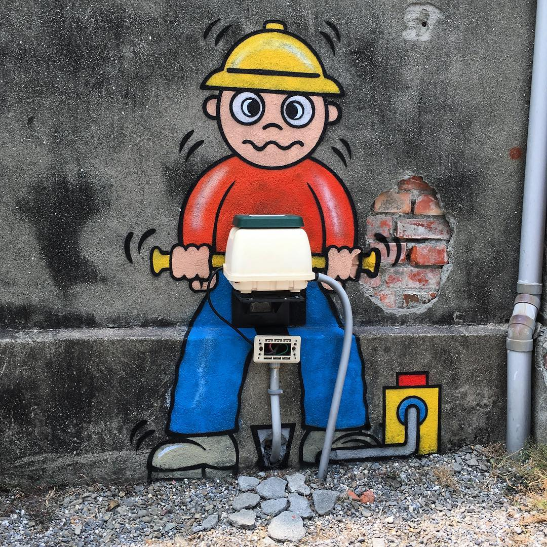 street art works drilling by tom bob