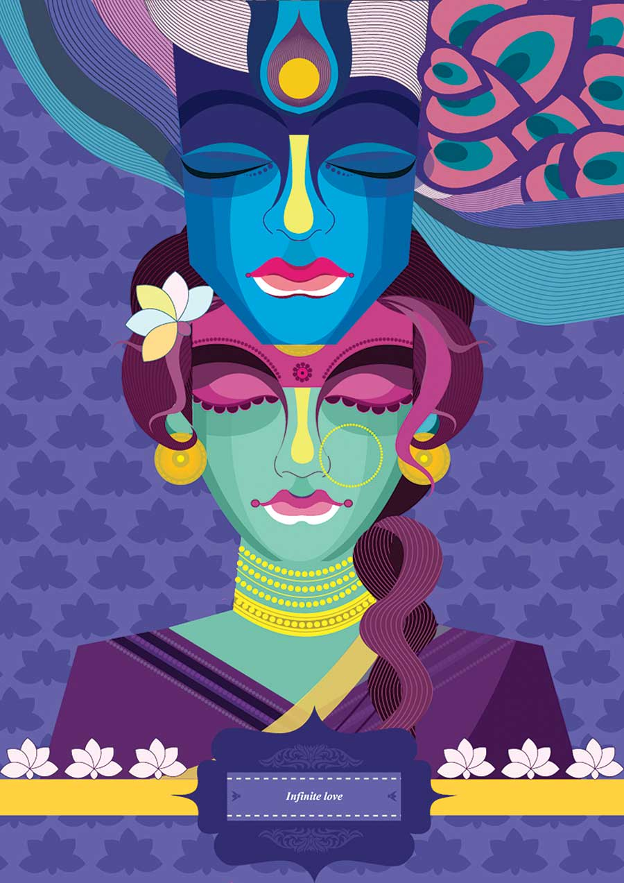 digital illustration art radha krishna by priya shinde