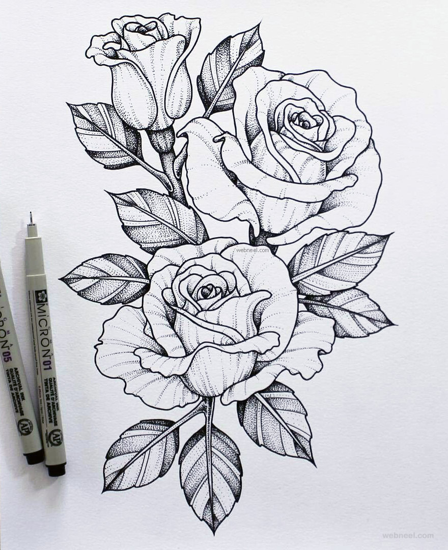 Rose Sketch Pencil Shading Rose Sketch Flower Drawing