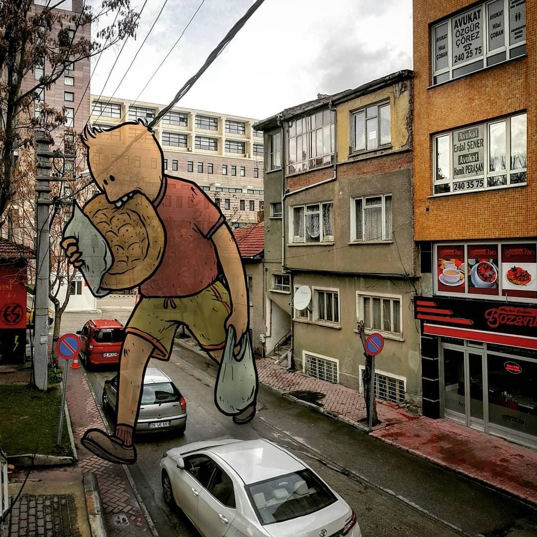 street art work by hakan keles