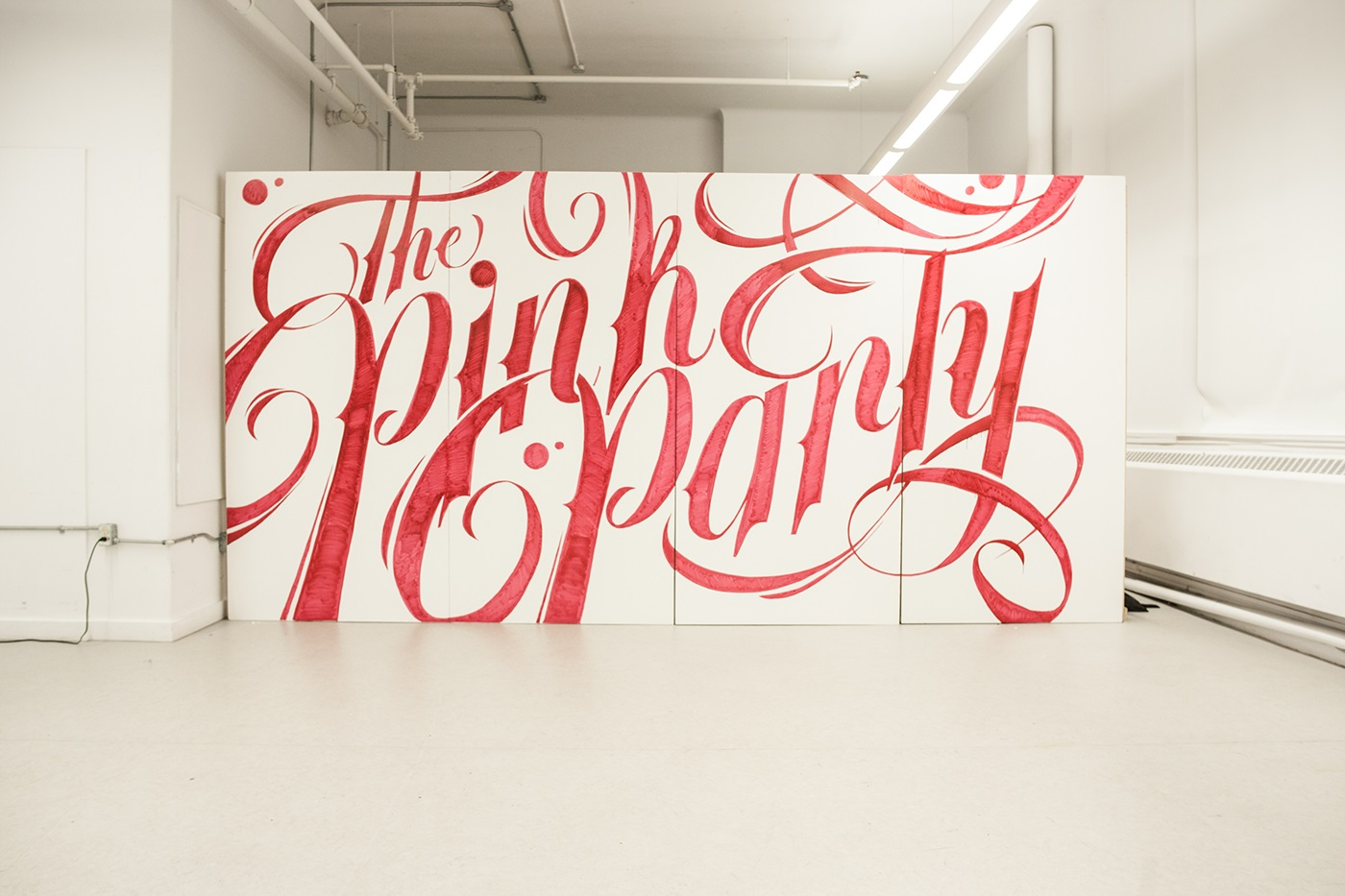 typography wall art idea pink party by ben johnston