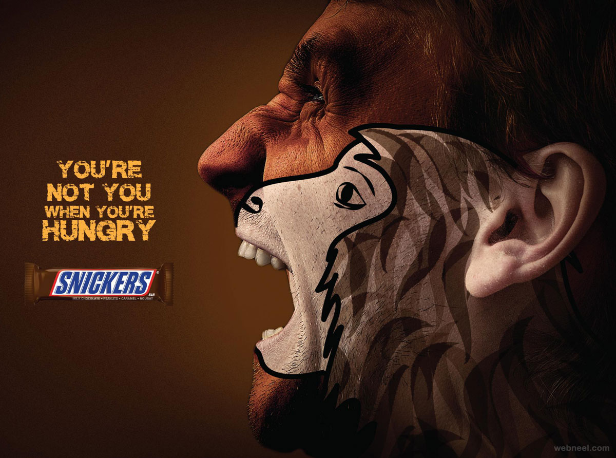 print ads chocolate snickers face painting