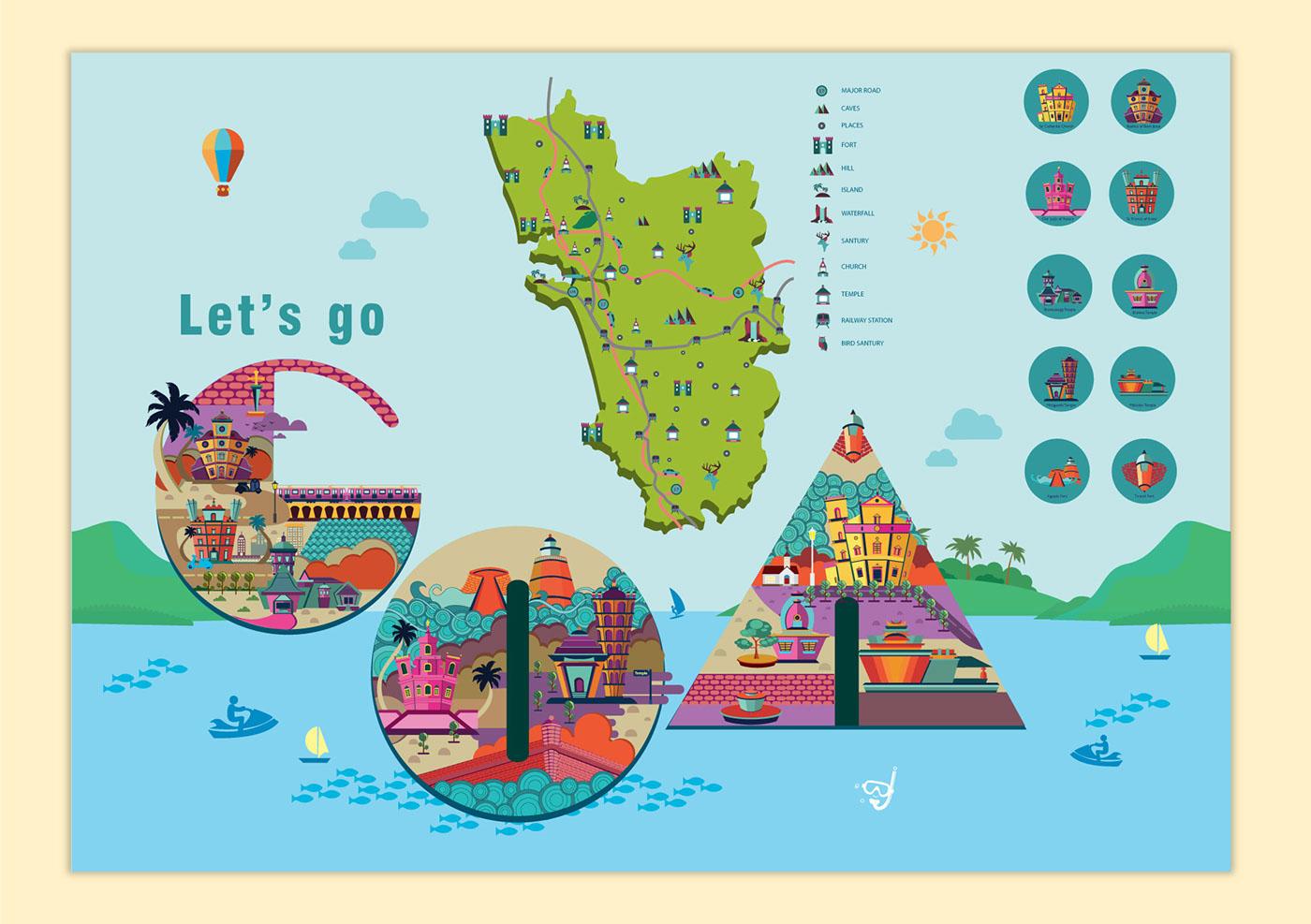digital illustration art goa tourism by priya shinde