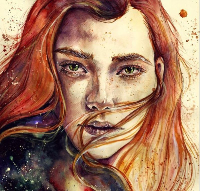 watercolour portraits by lesya poplavskaya