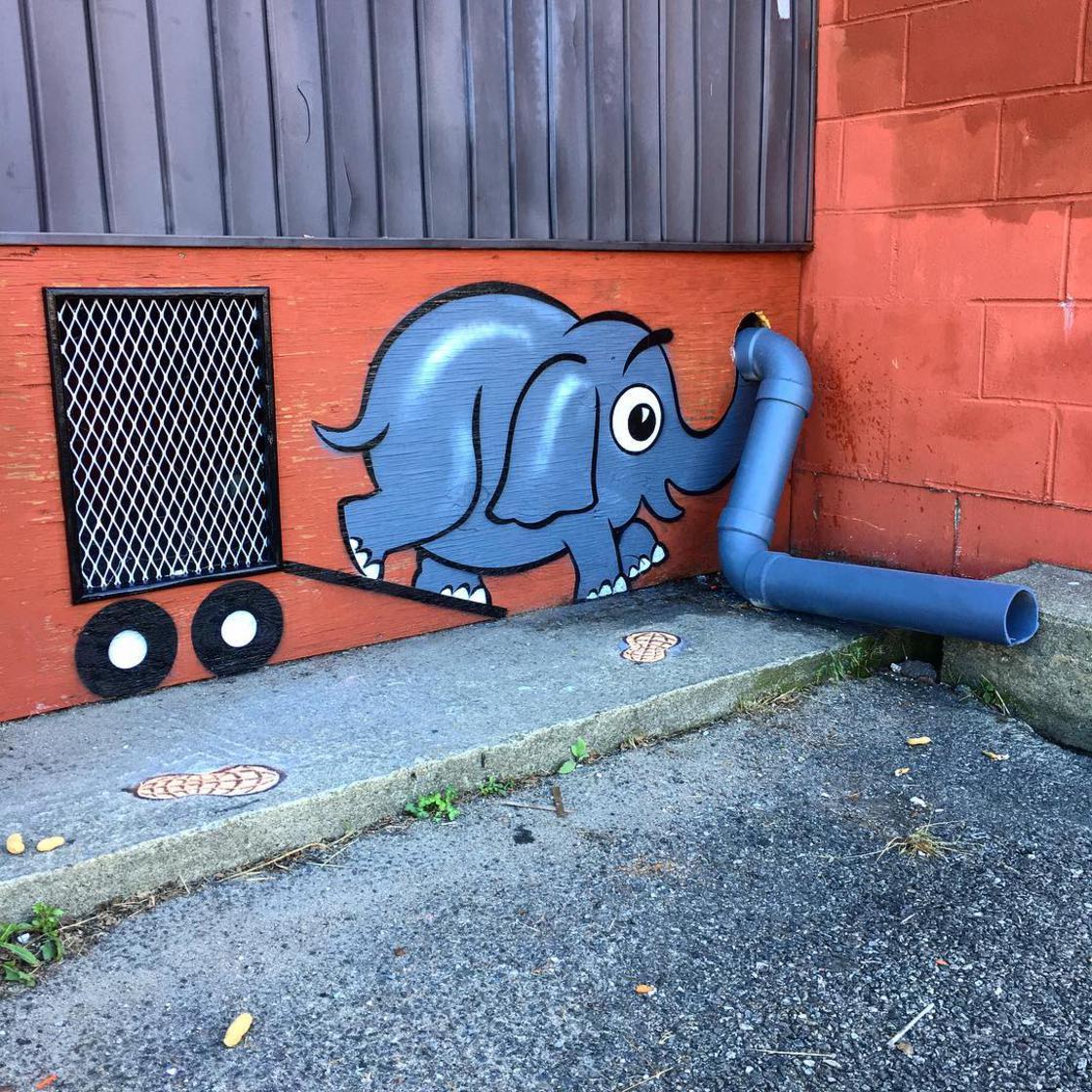 street art works elephant by tom bob