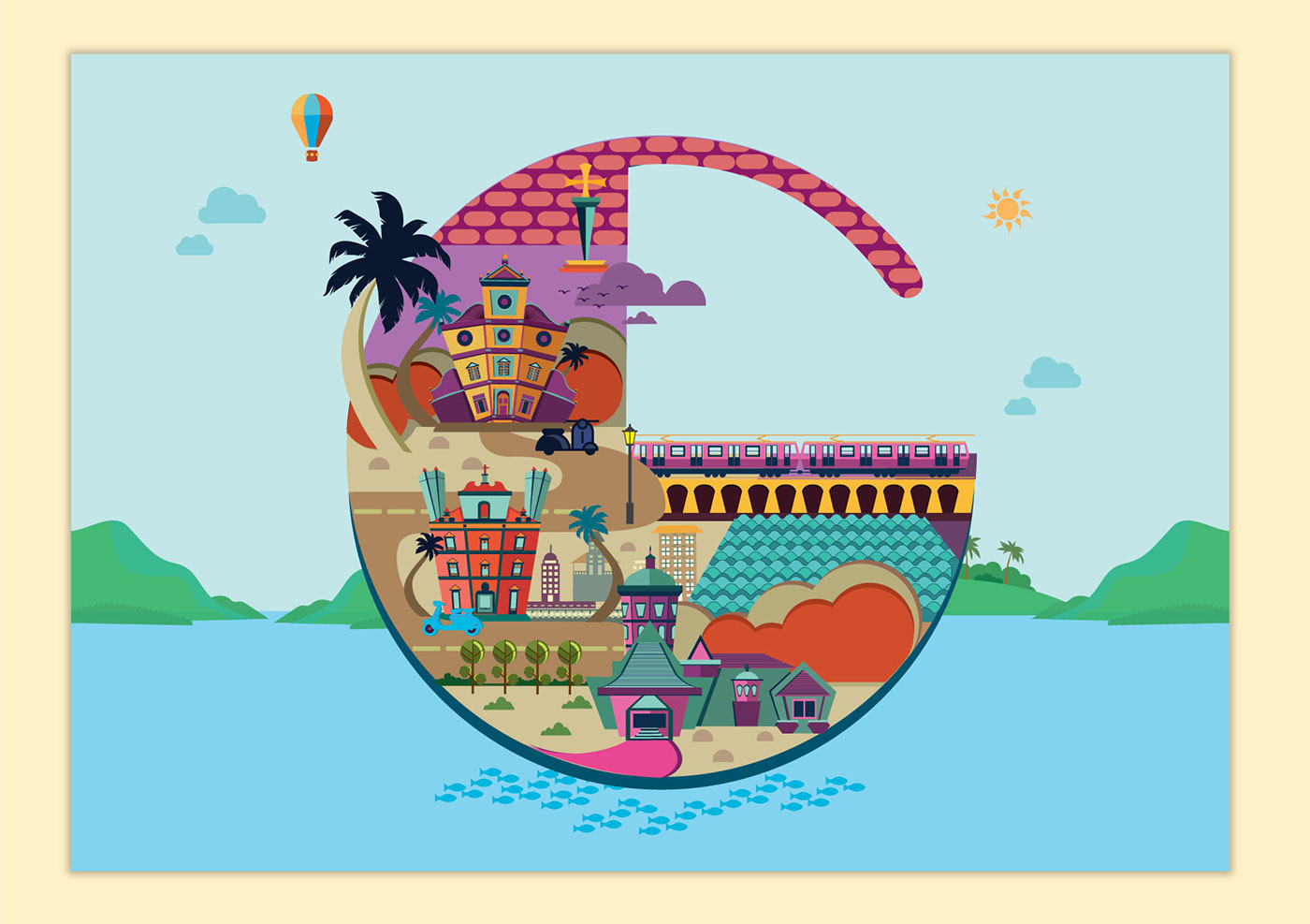 digital illustration art goa tourism by priya shinde
