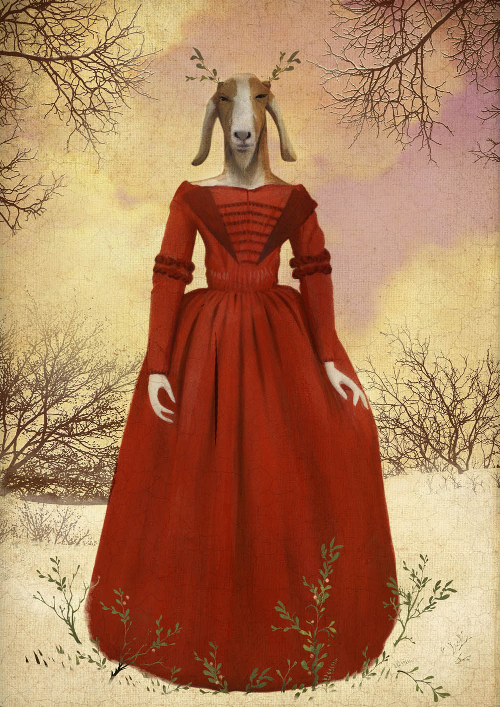surreal paintings artwork red dress by bill mayers