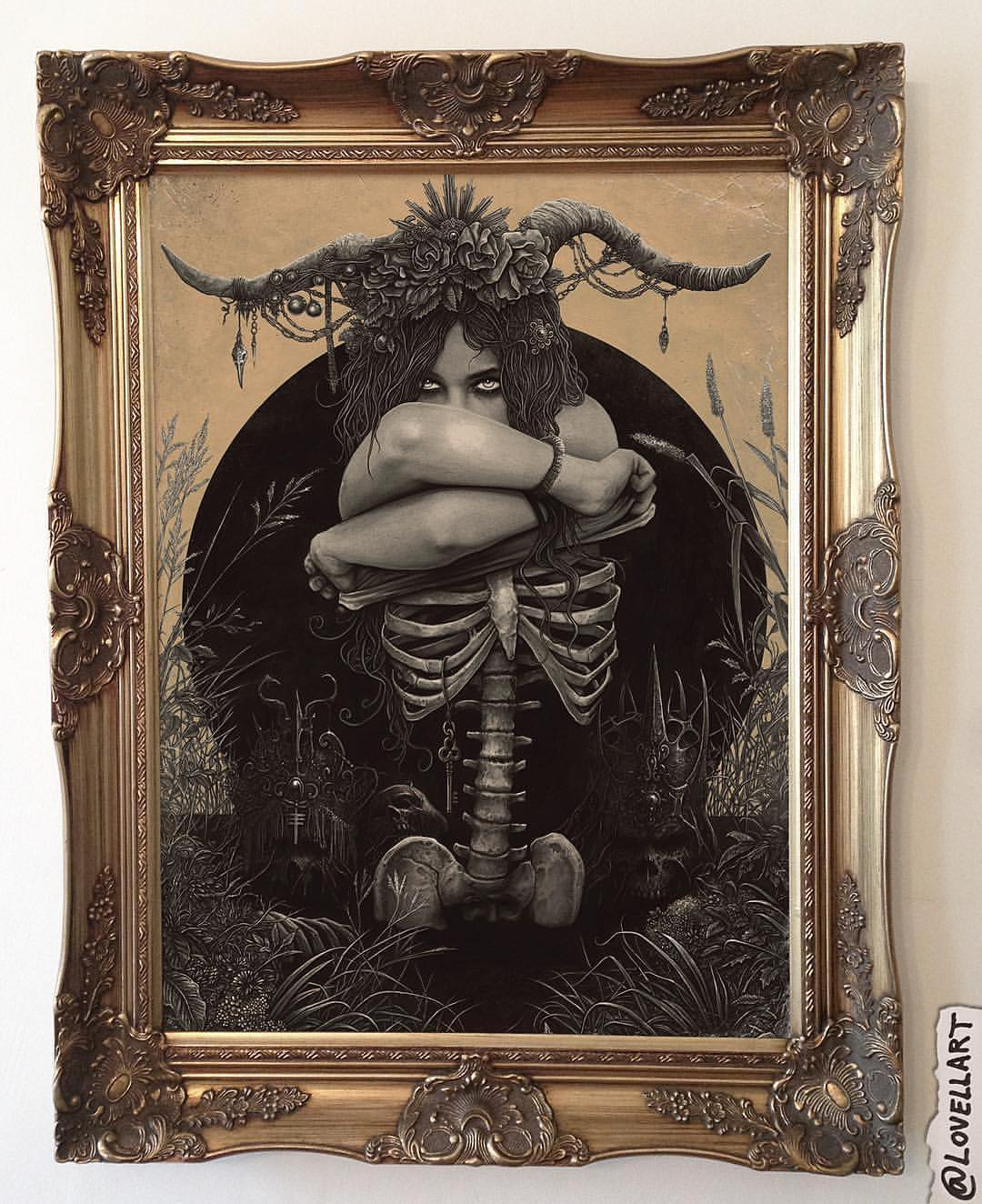 skeleton surreal drawing art by christopher lovell