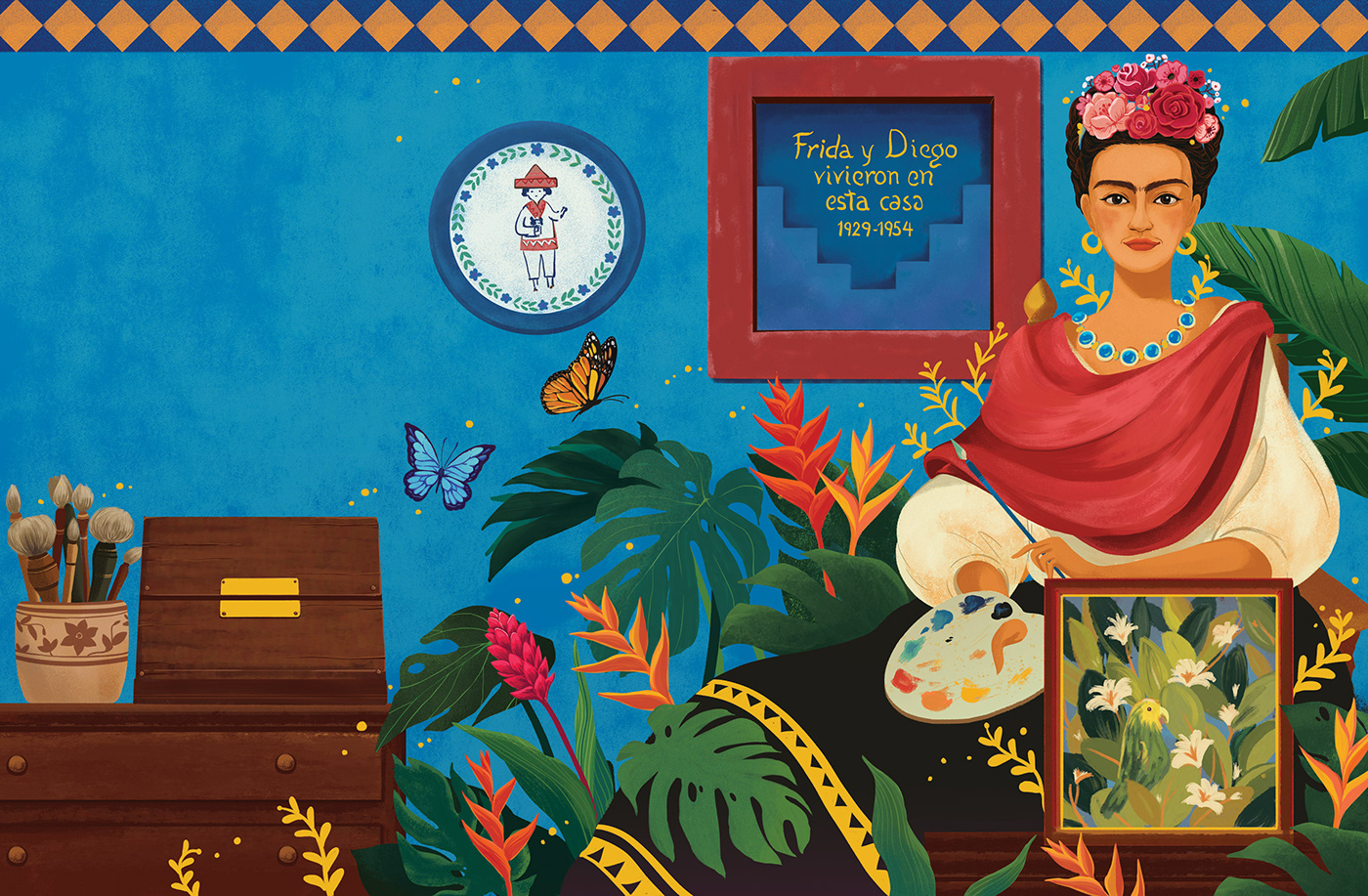 digital illustration art frida kahlo