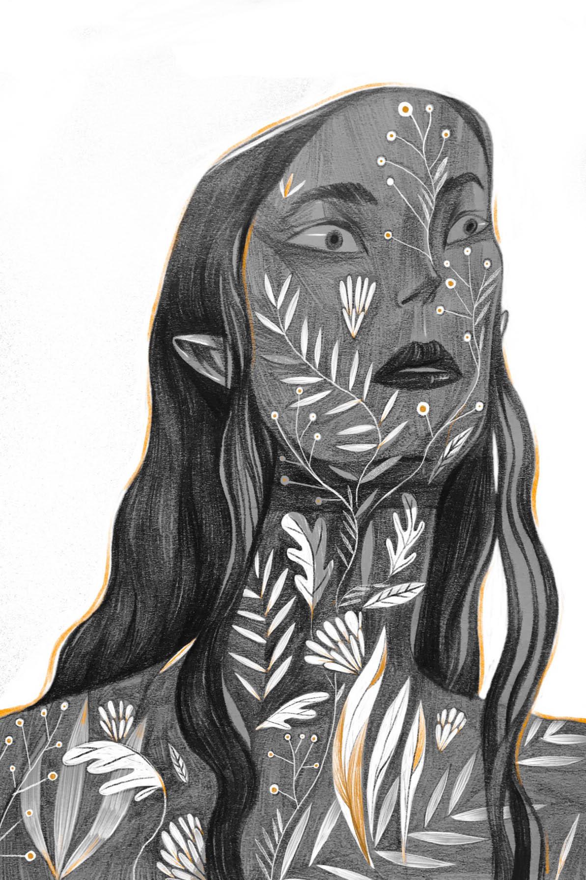pencil drawing woman nature by zhong niao
