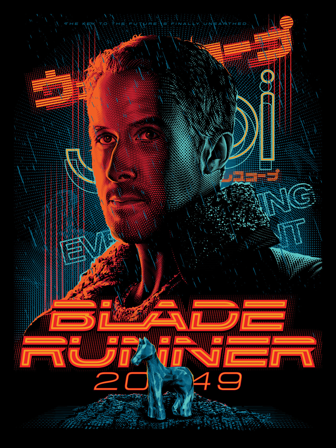 poster design portrait illustration bladerunner