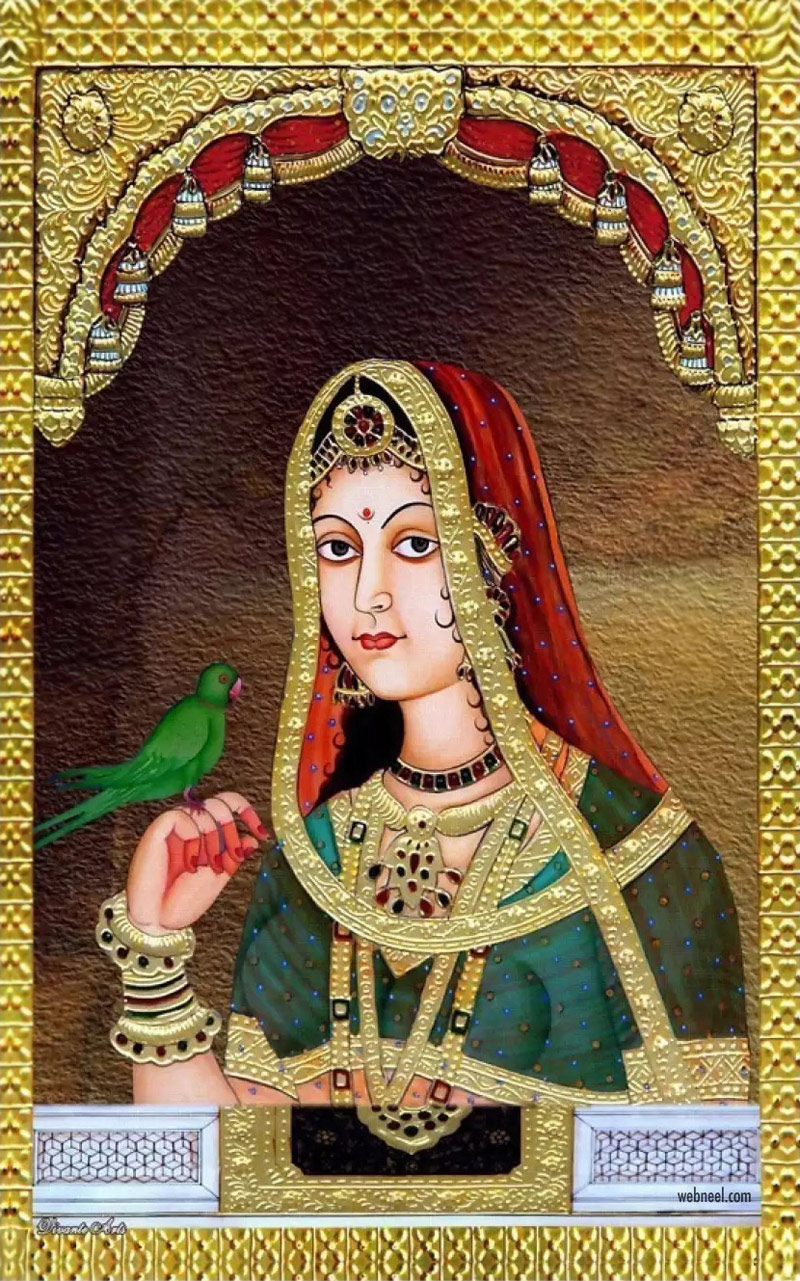 rajasthani painting artwork woman parrot