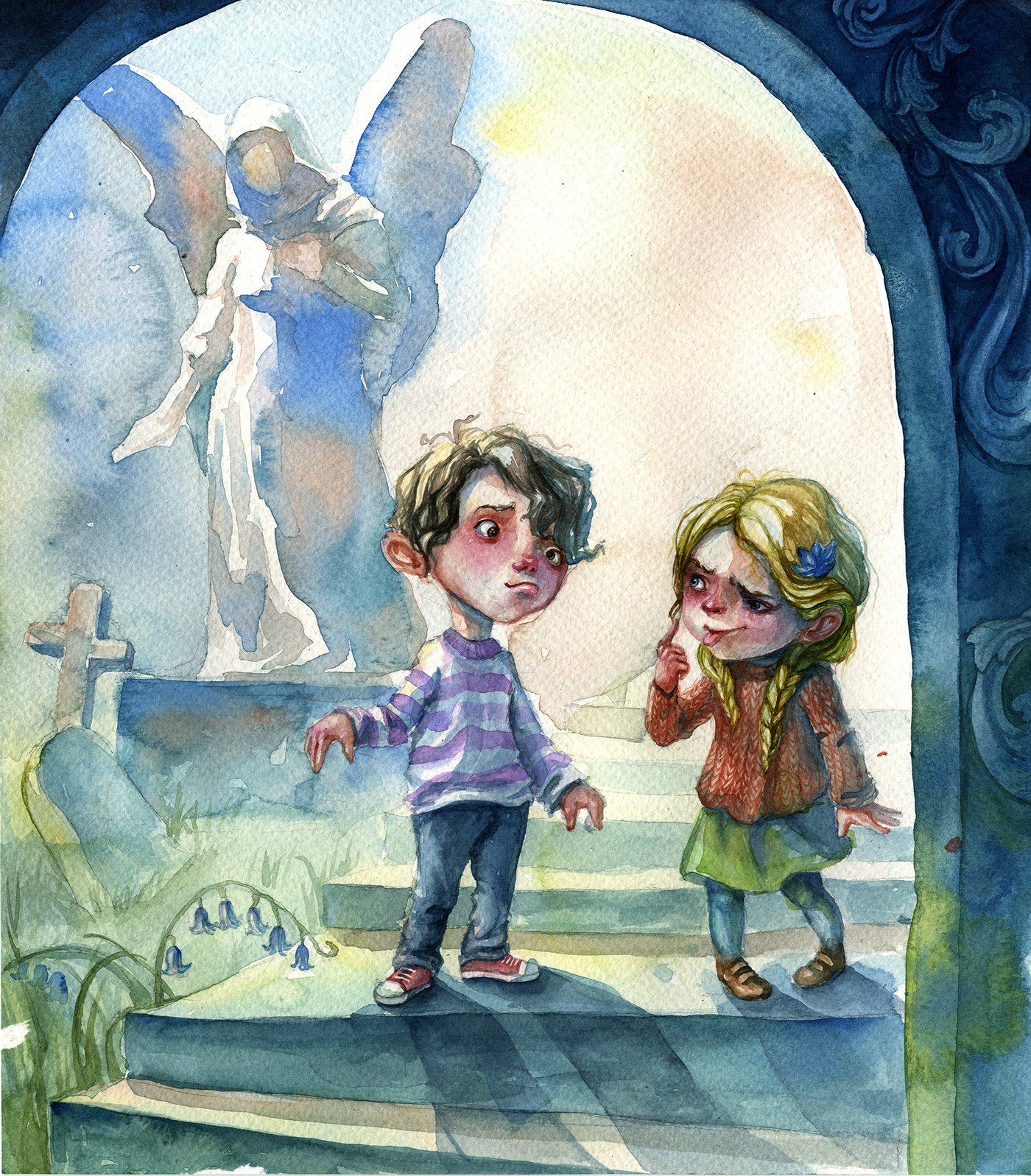watercolor painting editorial kids by neil geiman