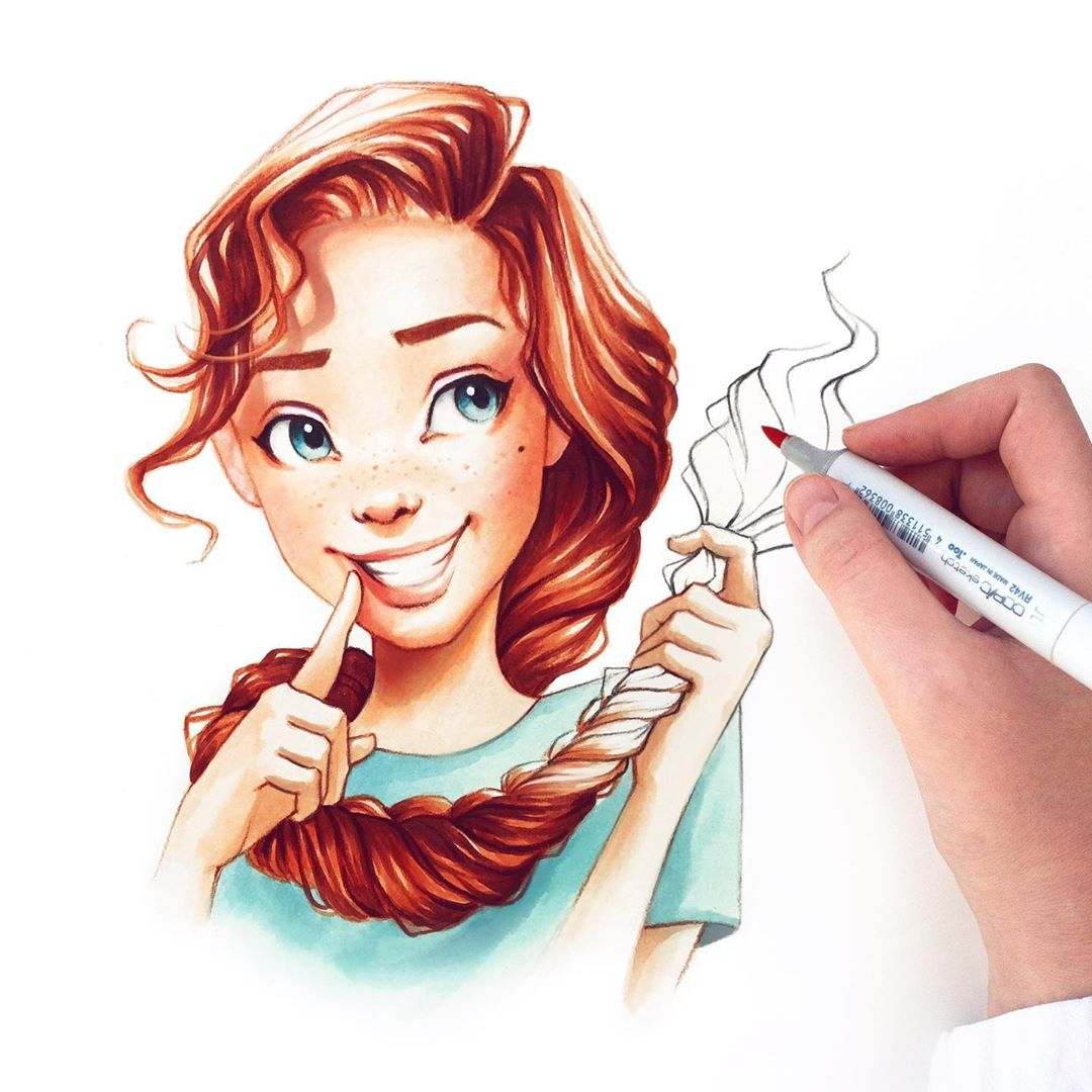 drawing portrait hair braid by lera kiryakova