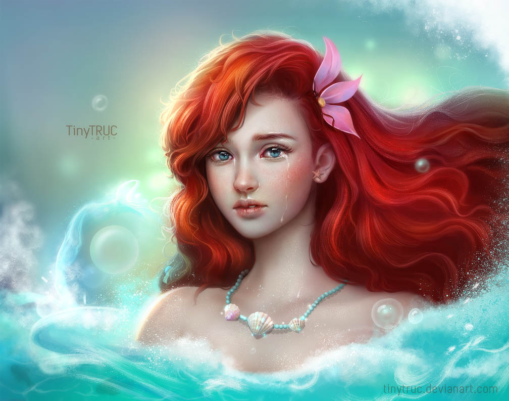 digital painting ariel little mermaid by tinytruc