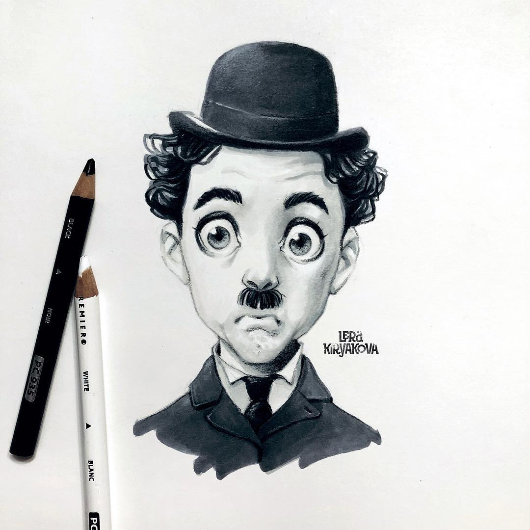 drawing portrait charlie chaplin
