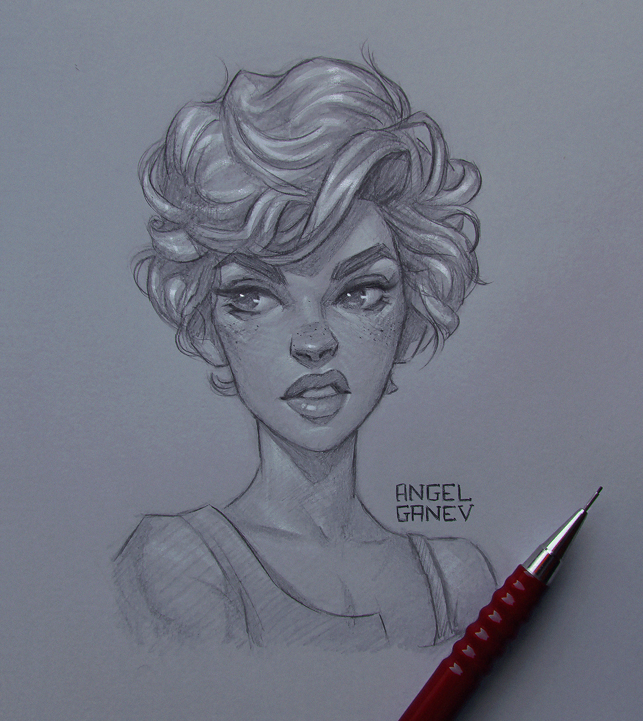 pencil drawing woman by angel ganev