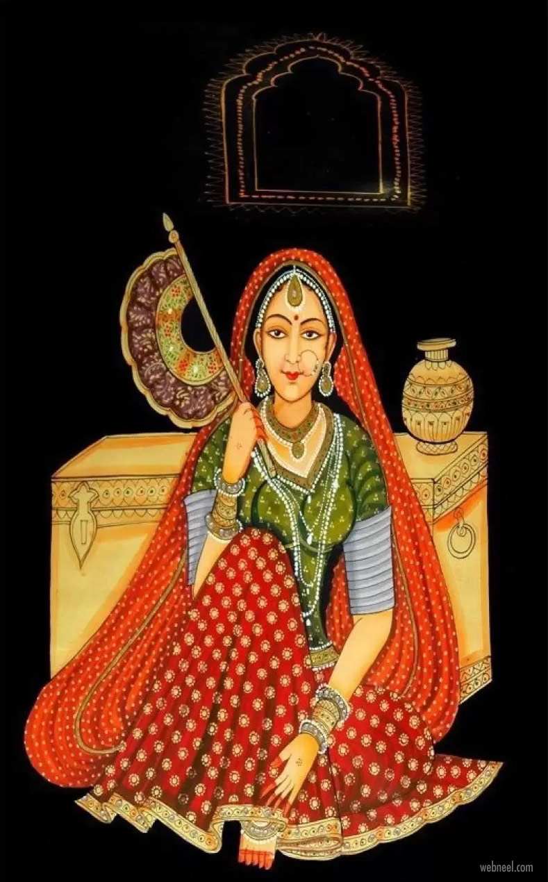 rajasthani painting modern woman by mmenterprises28