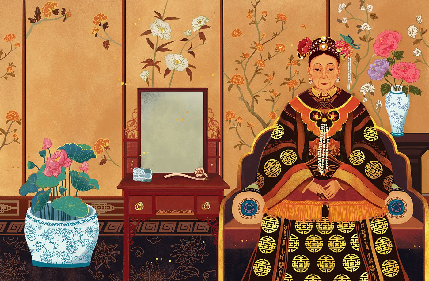 digital illustration art empress dowager cixi