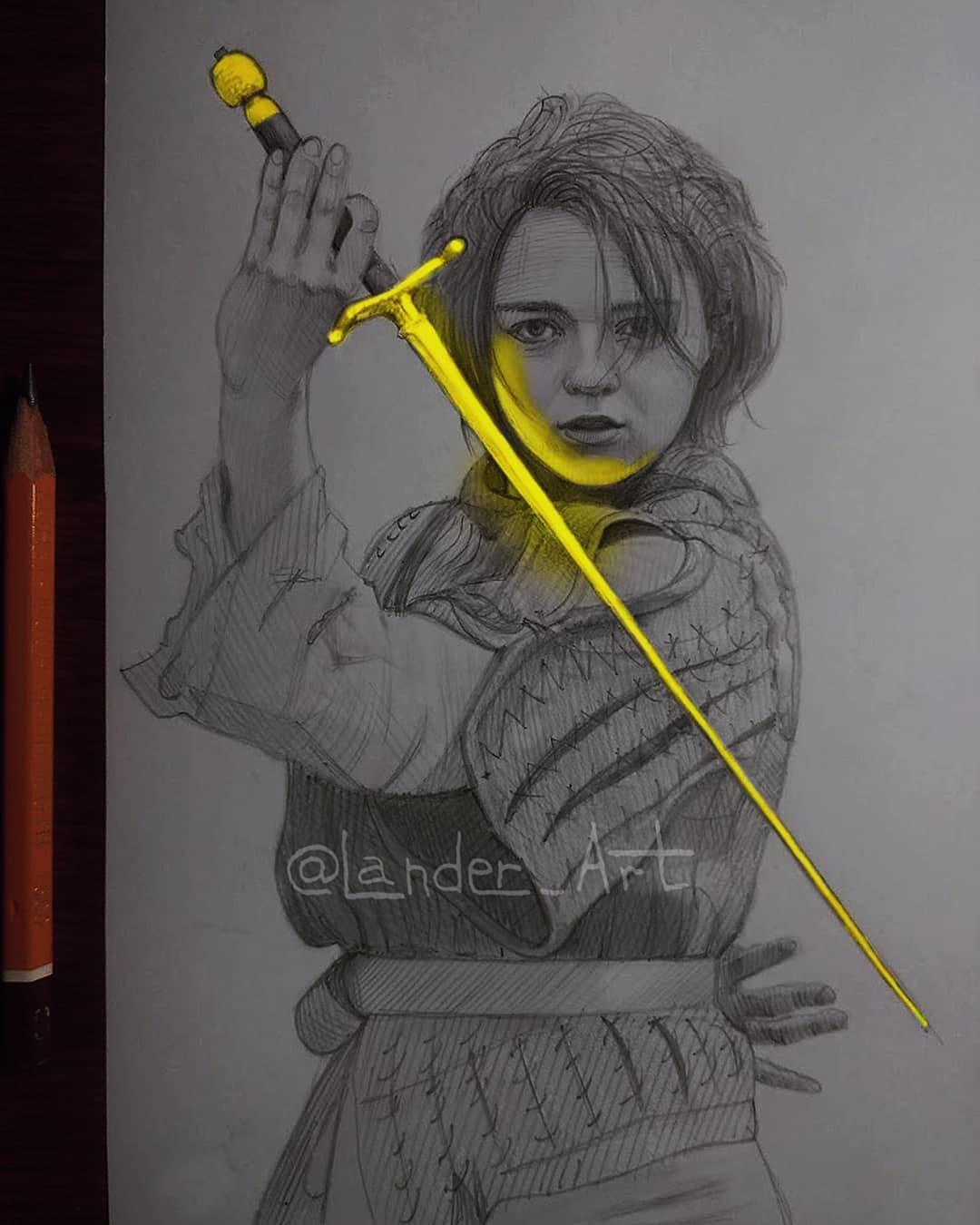 pencil  drawing arya by lander art