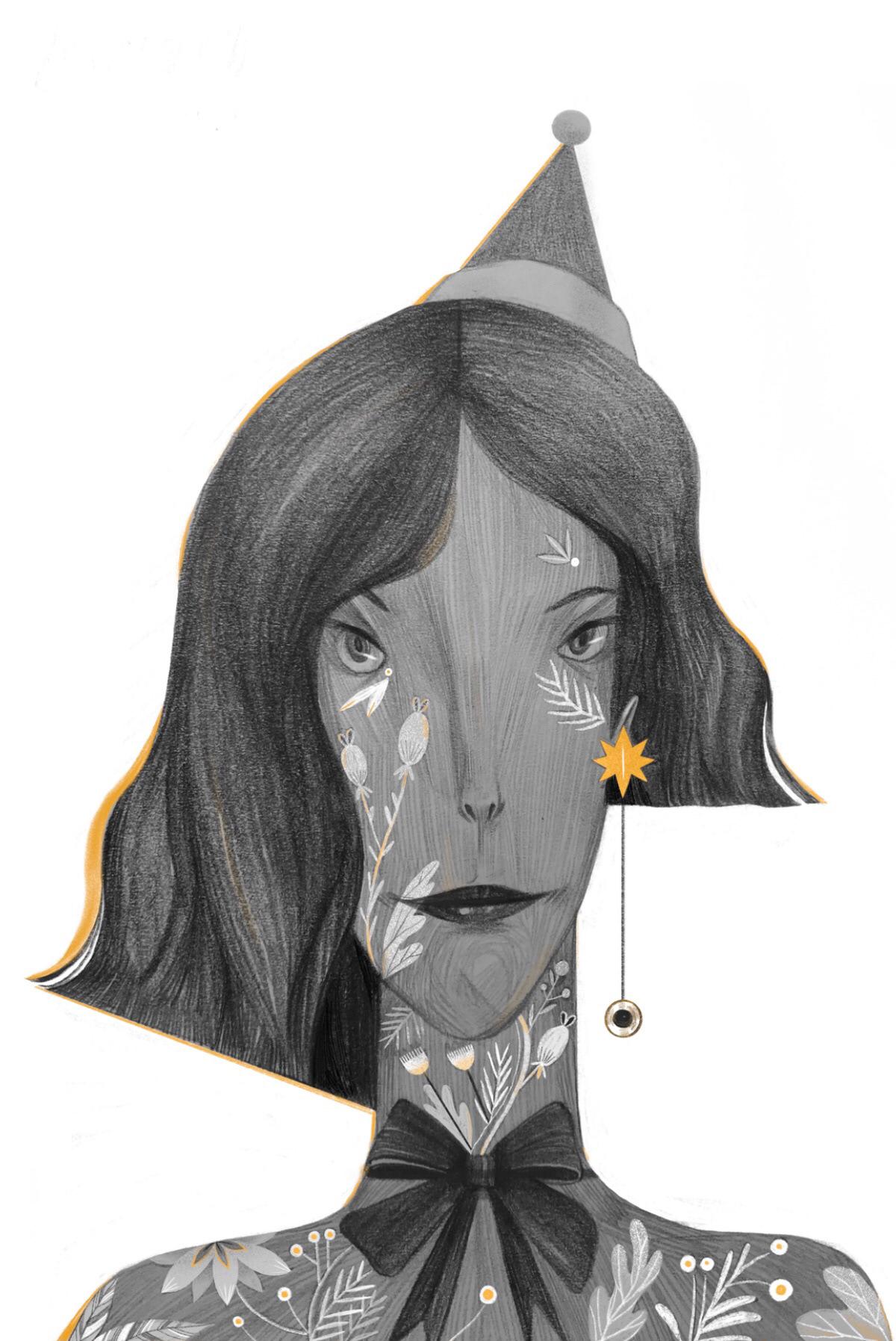 pencil drawing woman by zhong niao