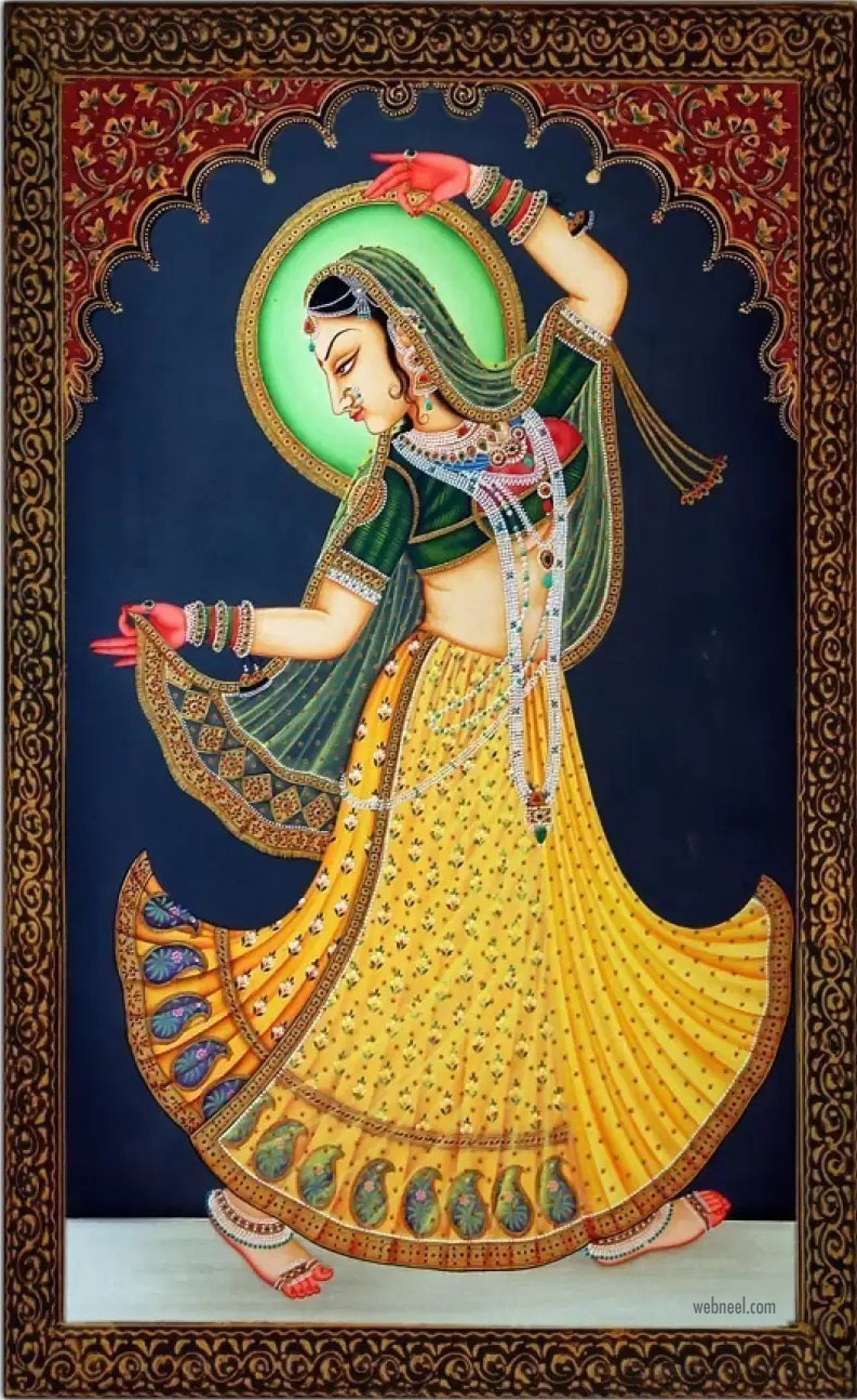 rajasthani painting artwork woman dance