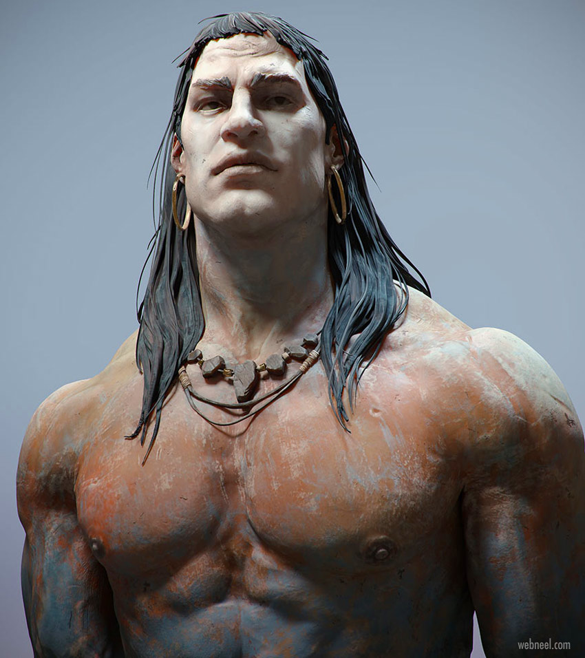 3d zbrush model man canon barbarian