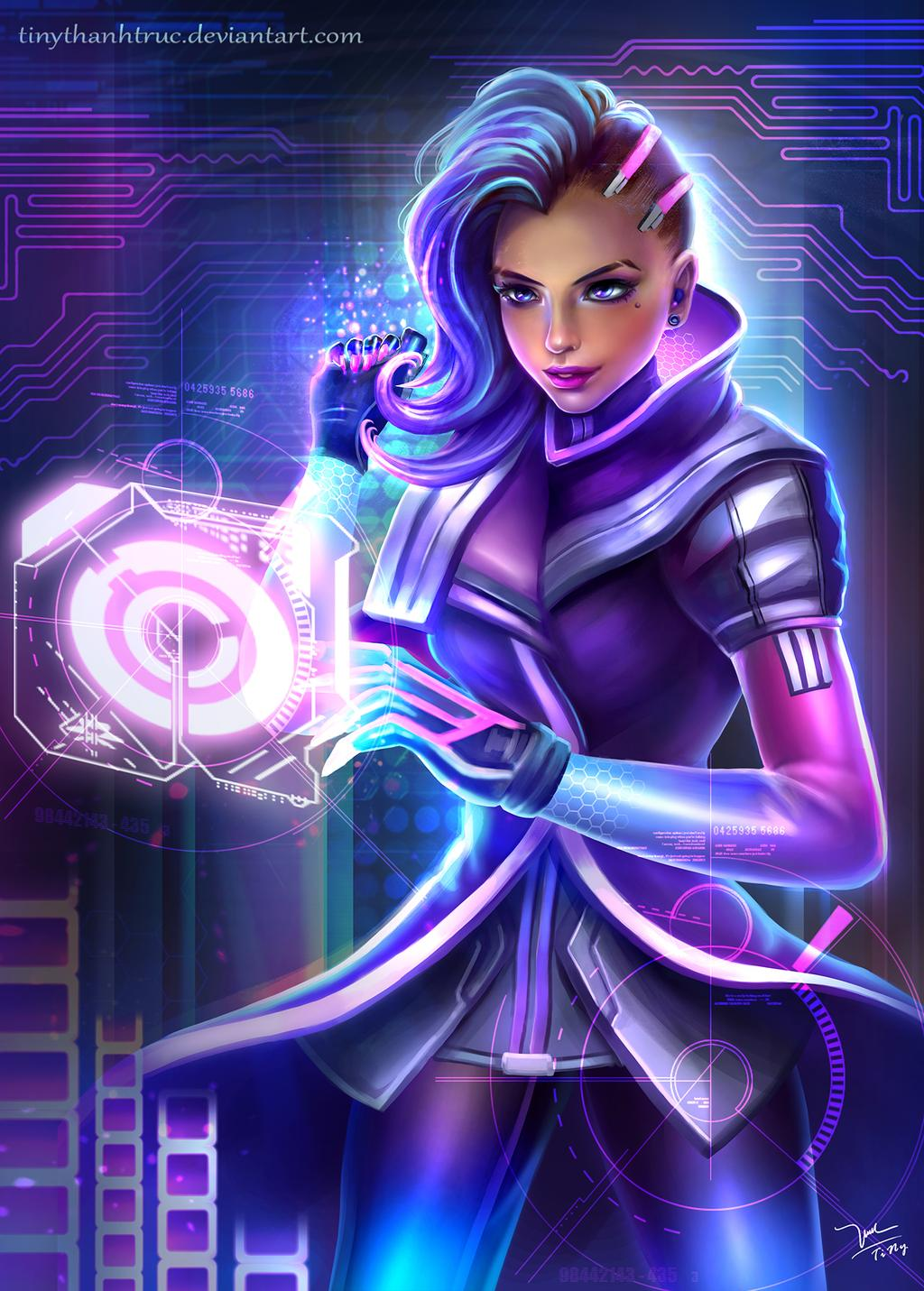 digital painting sombra overwatch