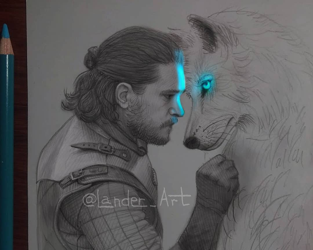 pencil drawing john snow by lander art