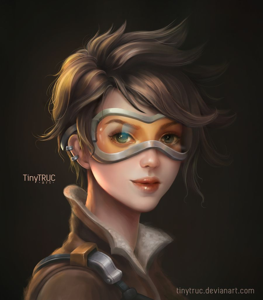 digital painting tracer overwatch by tinytruc