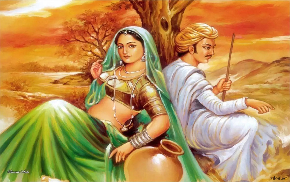 rajasthani painting modern artwork couple