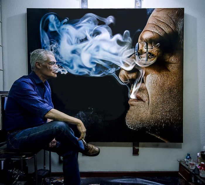 realistic painting smoke by kamalky laureano
