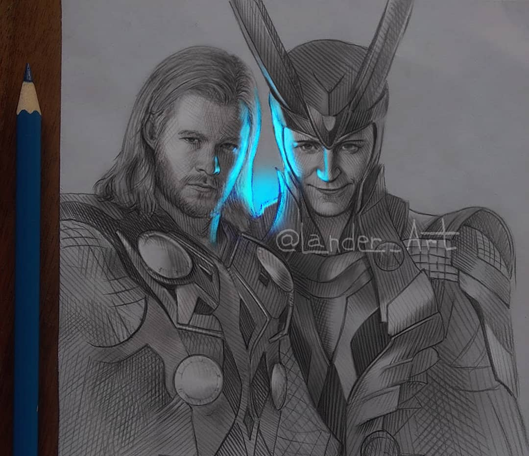 pencil drawing thor by lander art