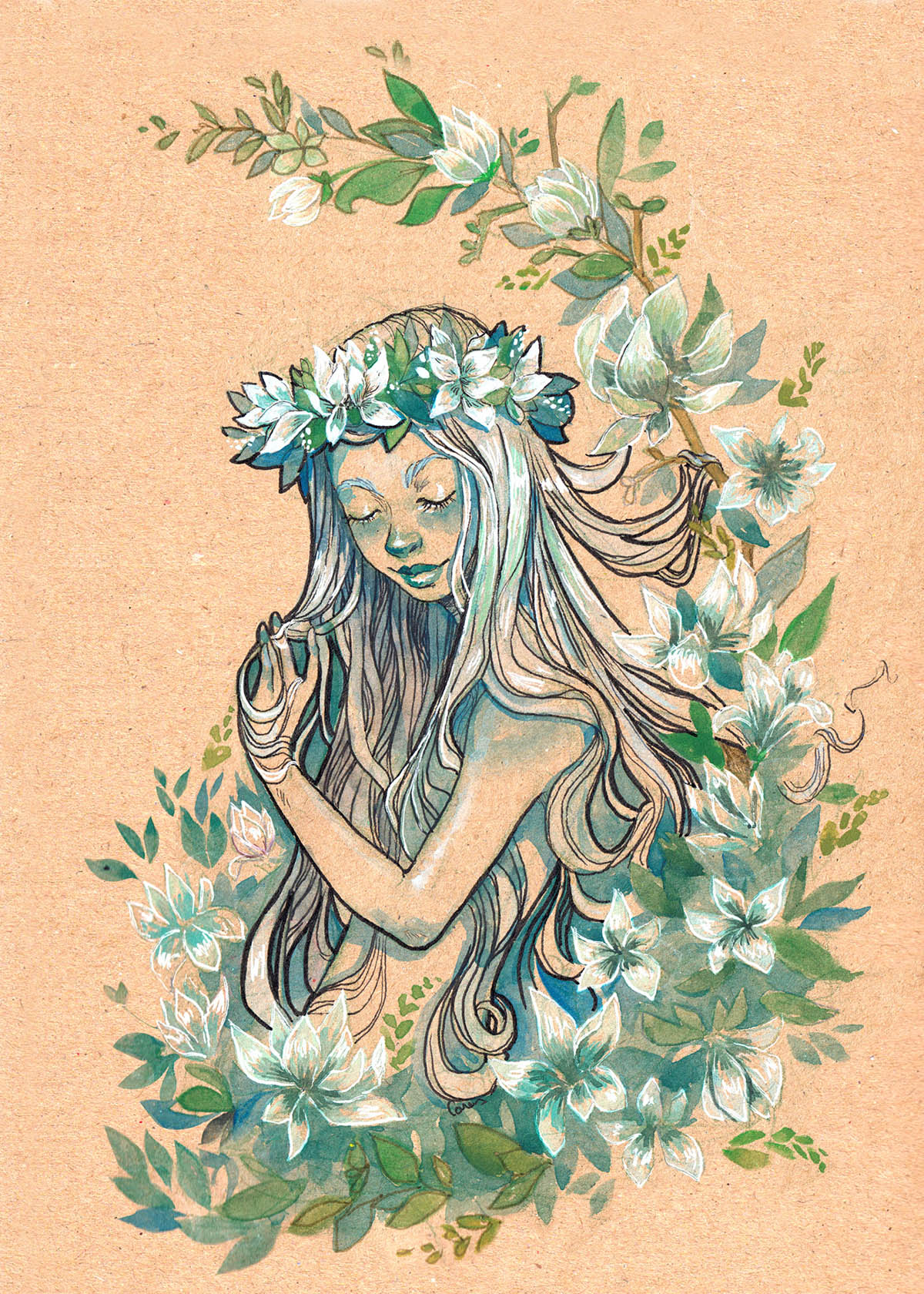 watercolor painting illustration woman wildflower