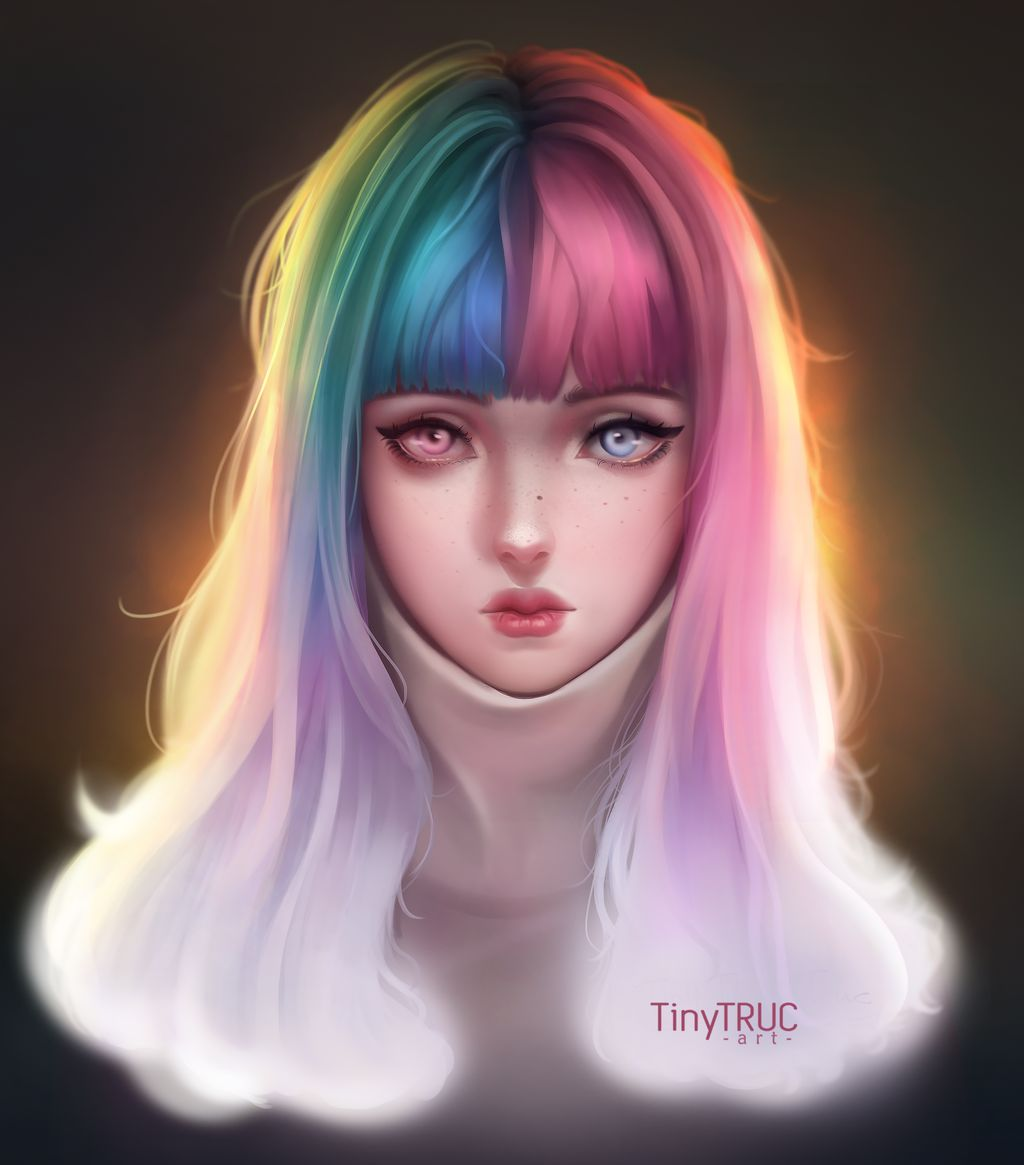 digital painting color hair girl by tinytruc