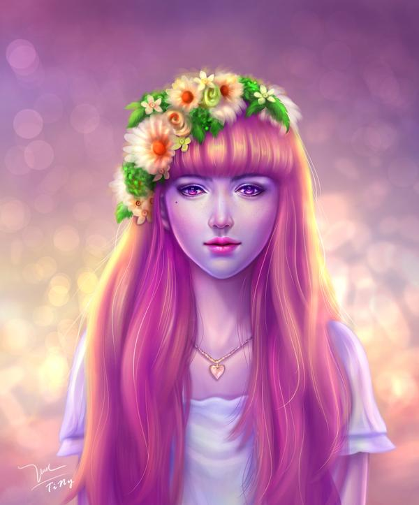 digital painting violet dream by tinytruc