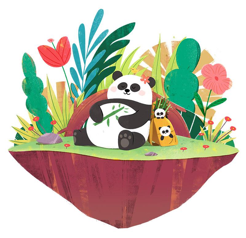 art drawing panda sleep
