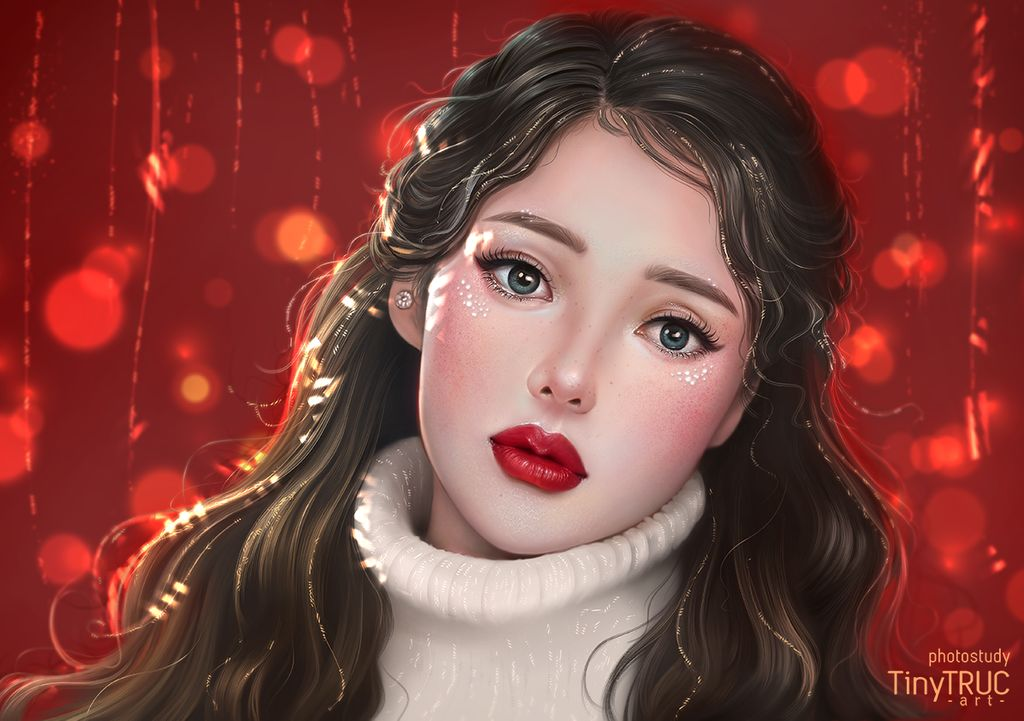 digital painting christmas girl by tinytruc