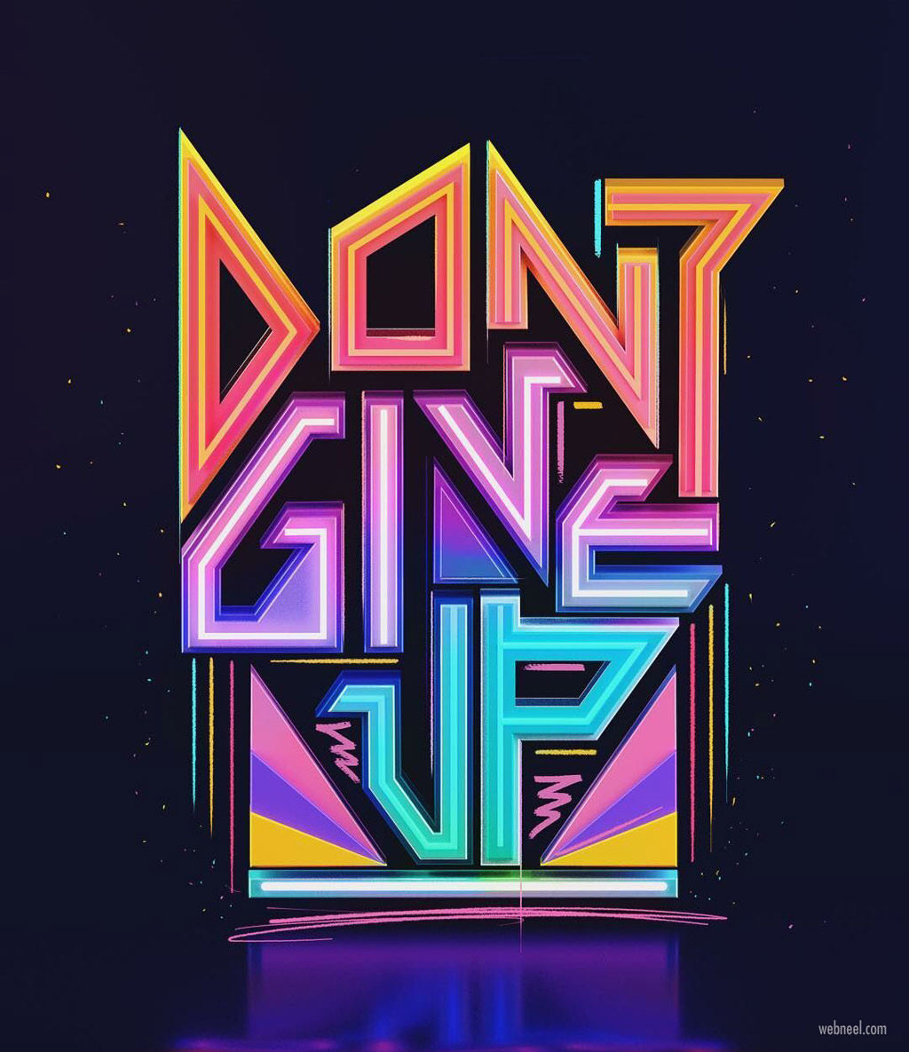 typography design motivational neon by prateekvatash