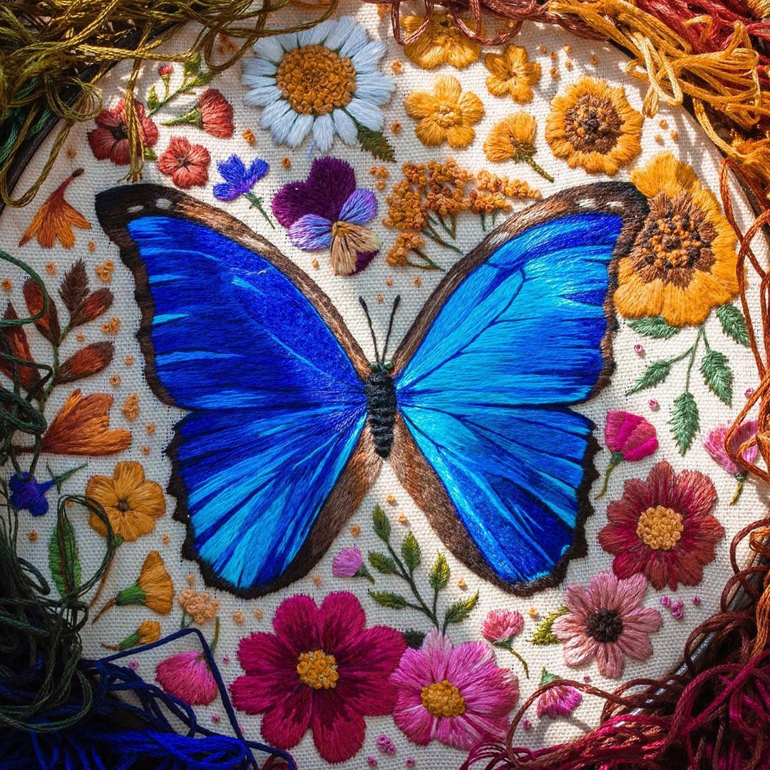 embroidery art blue butterfly