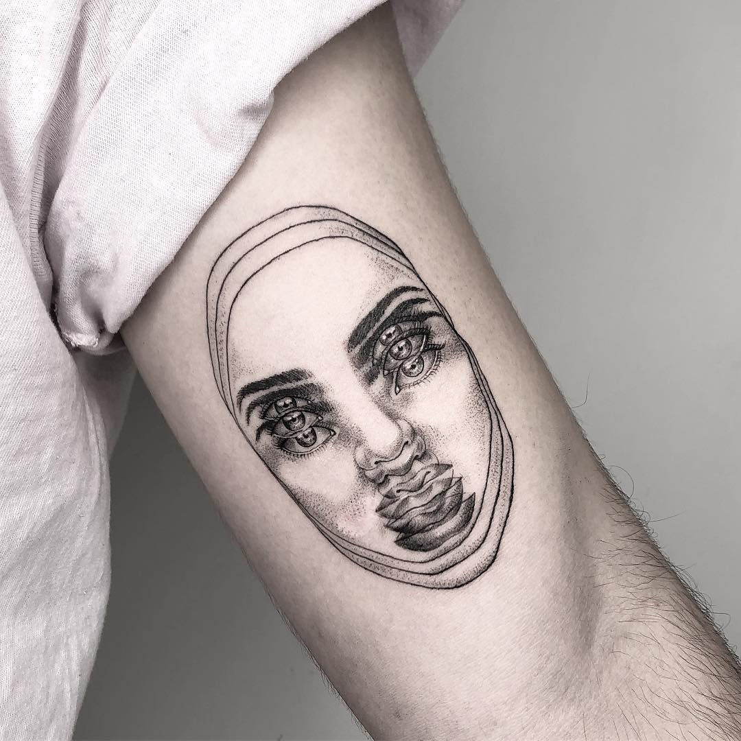 optical illusion tattoo blur face by yatzil elizalde